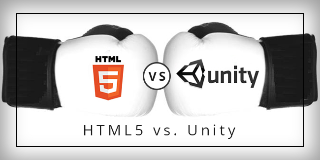 Boxing gloves in a face off HTML5 and Unty