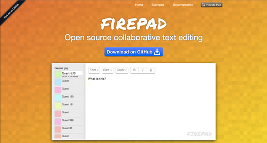 Firepad is an example of a Web Apps