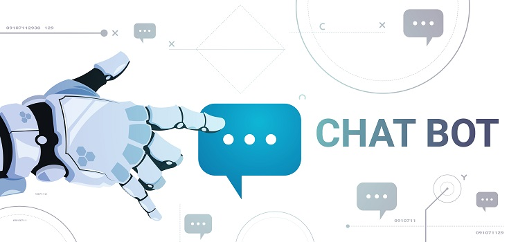 Chatter Service App Concept Robot Hand Touch Chat Bubble Template Banner With Copy Space, Chatterbot Technical Support Technology Concept Flat Vector Illustration