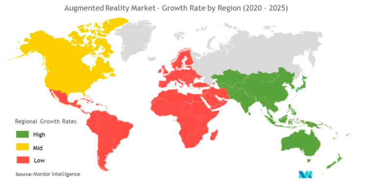 Growth rate in augmented reality market